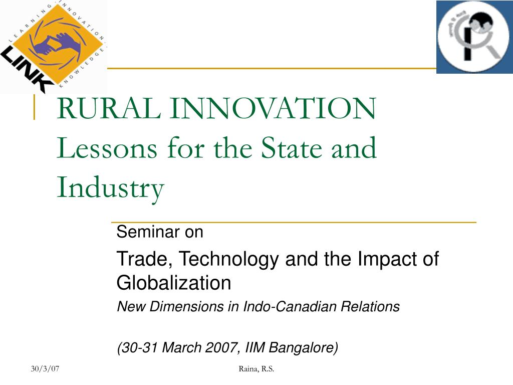 rural innovation lessons for the state and industry l.