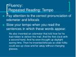 fluency repeated reading tempo