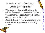a note about floating point arithmetic