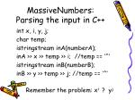 massivenumbers parsing the input in c