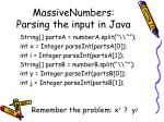 massivenumbers parsing the input in java