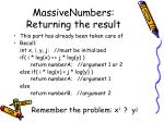massivenumbers returning the result