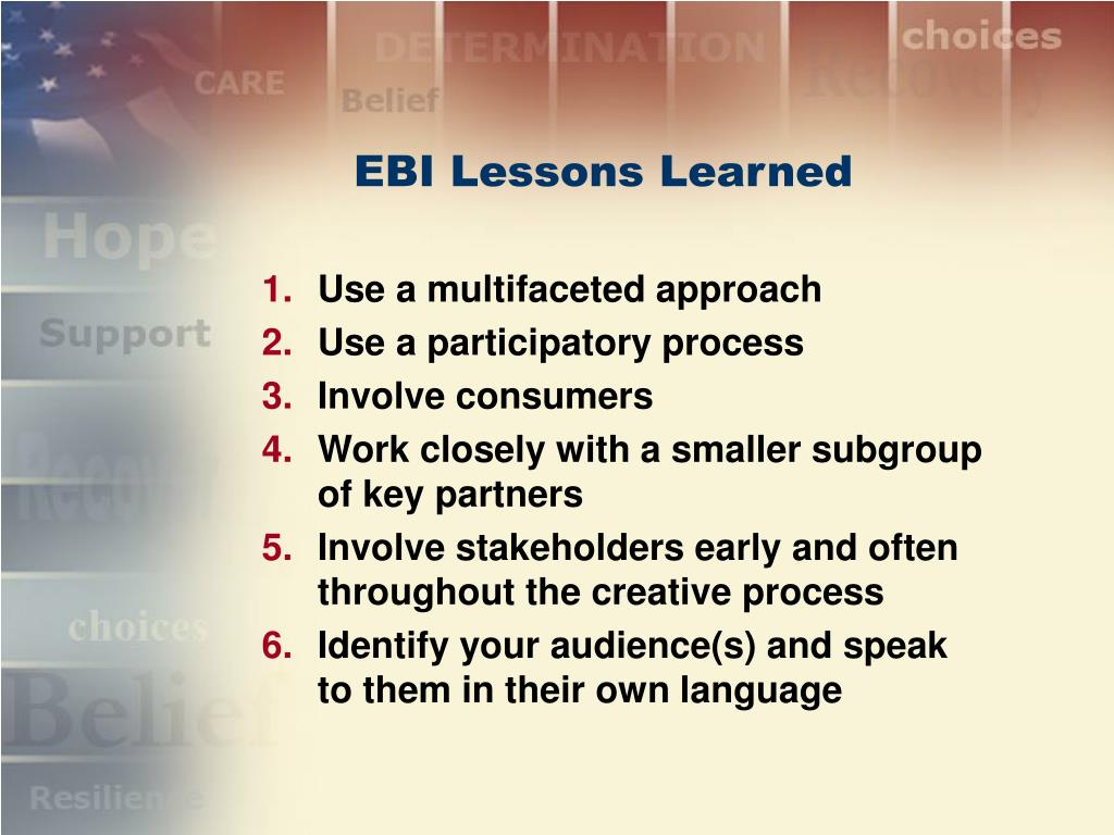 EBI Lessons Learned