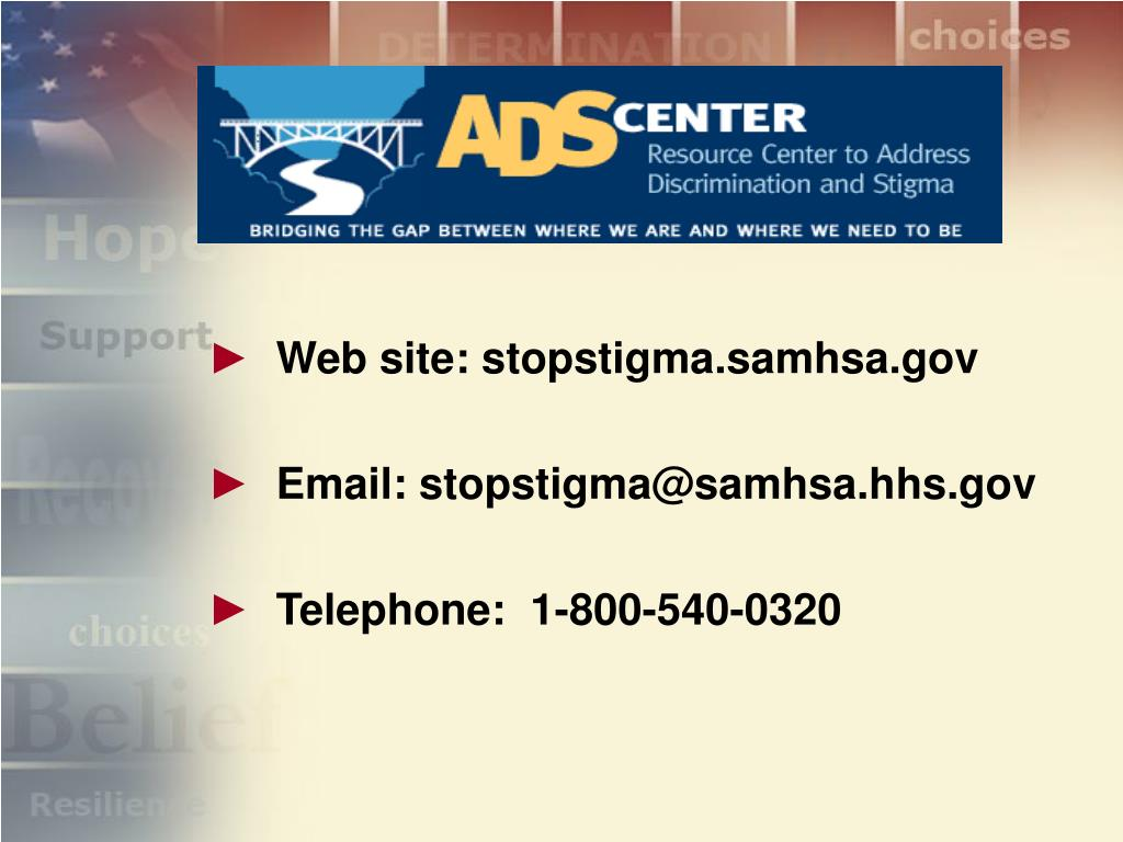 Web site: stopstigma.samhsa.gov