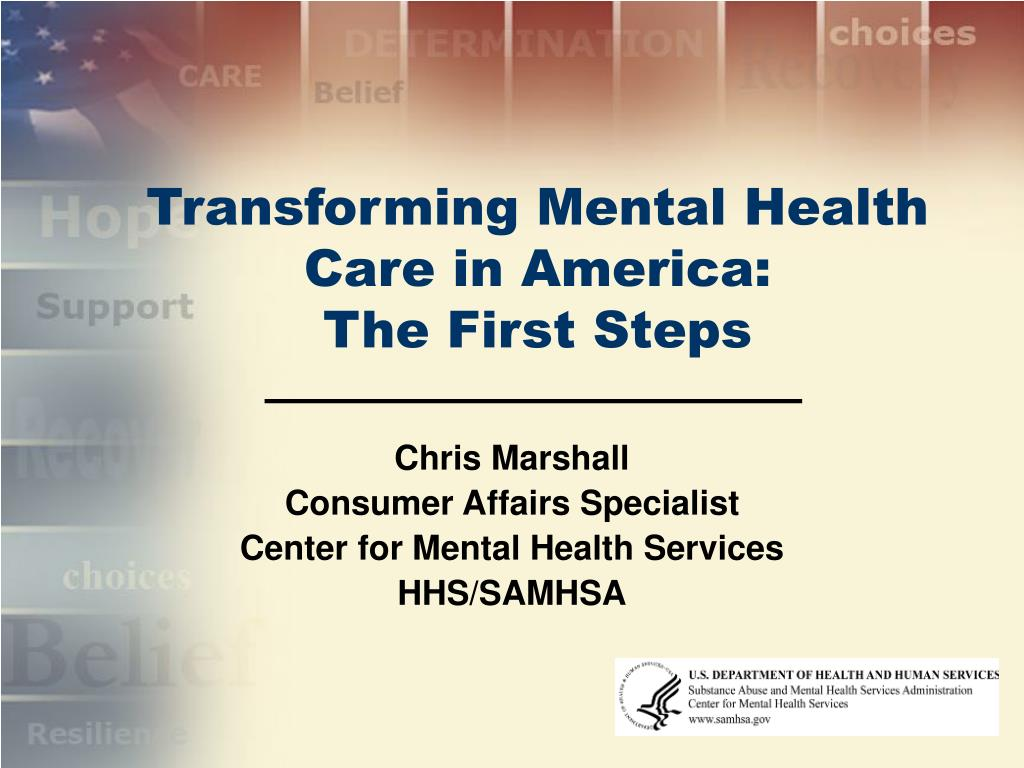 transforming mental health care in america the first steps l.