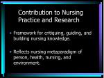 contribution to nursing practice and research