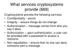 what services cryptosystems provide 669