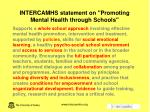 intercamhs statement on promoting mental health through schools