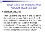 david knew the prophecy was not just about solomon