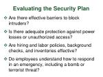 evaluating the security plan
