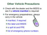 other vehicle precautions