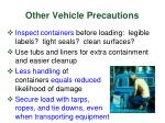 other vehicle precautions12