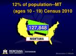 12 of population mt ages 10 19 census 2010