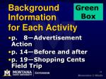 background information for each activity