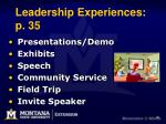 leadership experiences p 35