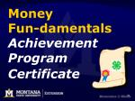 money fun damentals achievement program certificate