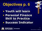 objectives p 6