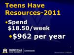 teens have resources 2011