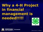why a 4 h project in financial management is needed