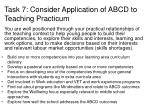 task 7 consider application of abcd to teaching practicum