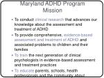 maryland adhd program mission