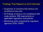 findings that require an exit interview
