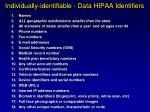individually identifiable data hipaa identifiers