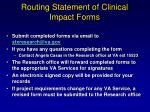 routing statement of clinical impact forms