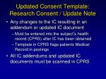 updated consent template research consent update note