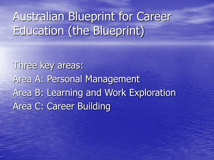 Ppt the australian blueprint for career development powerpoint australian blueprint for career education the blueprint malvernweather Image collections