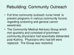 rebuilding community outreach
