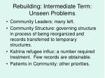 rebuilding intermediate term unseen problems17