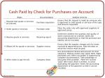 cash paid by check for purchases on account
