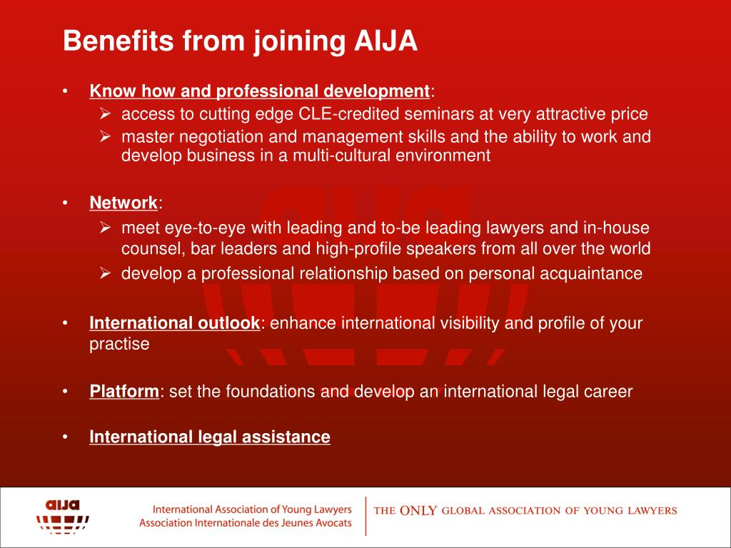 Benefits from joining AIJA