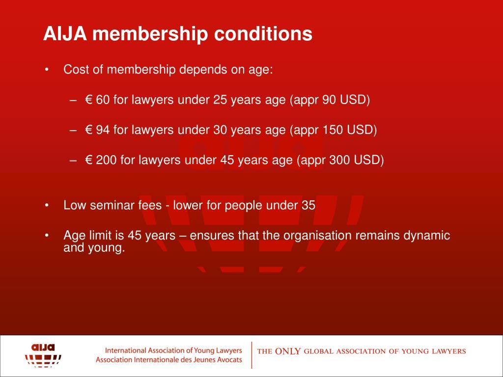 AIJA membership conditions