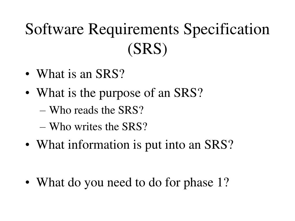 Ppt Software Requirements Specification Srs Powerpoint