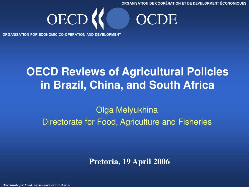 oecd reviews of agricultural policies in brazil china and south africa l.