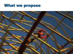 what we propose