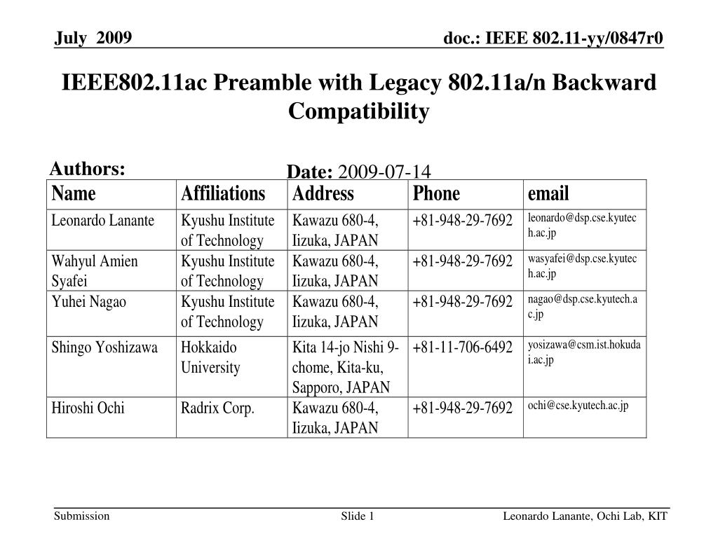 ieee802 11ac preamble with legacy 802 11a n backward compatibility l.