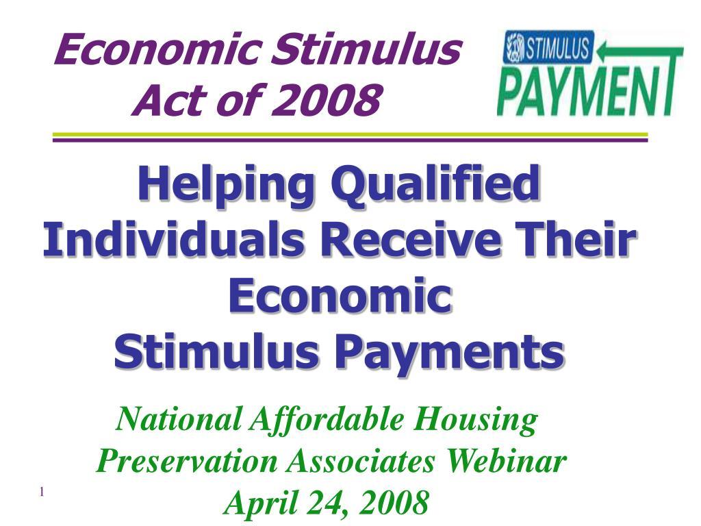 economic stimulus act of 2008 l.