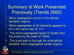 summary of work presented previously trends 2002