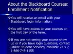 about the blackboard courses enrollment notification