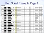 run sheet example page 2
