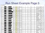 run sheet example page 3