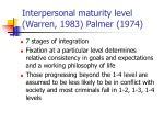 interpersonal maturity level warren 1983 palmer 1974