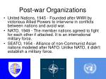 post war organizations
