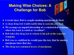 making wise choices a challenge for bob