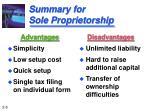 summary for sole proprietorship