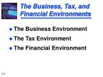 the business tax and financial environments