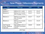 new phase 1milestone payments